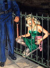 Casing the Joint, uncredited artist (Tom Simpson) Tags: pulp pulpart vintage illustration art painting woman boobs paperback casingthejoint greendress