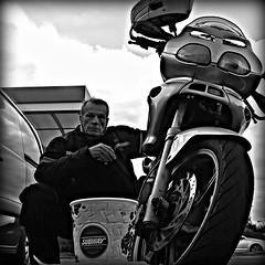 Grumpy face..! (Mike-Lee) Tags: bike motorbike cagivanavigator1000 motorway50mphzones coffee cappichuno break grumpy mike oct2016 selfi blackwhite phonecam