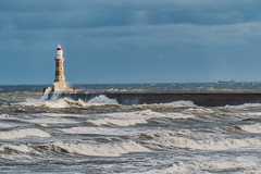 Roker Pier And Lighthouse (robinta) Tags: waves surf sea ocean historic buildings lighthouse pier roker sunderland water dramatic contrast clouds sky colour old brick stone pentax ks1 sigma18200mmhsmc