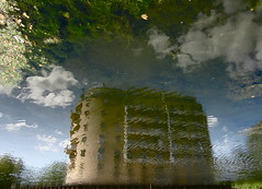 Locked into Blocks (andressolo) Tags: distortions distortion distorted london block building buildings water agua reflection reflect reflections reflected reflejo reflejos ripples canal clouds
