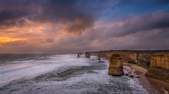 Storm Clouds Over the Apostles at Sunset (mark.iommi) Tags: yellow 12apostles greatoceanroad australia sunset longexposure