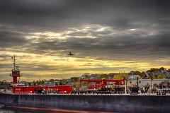 Tug Jane A Bouchard and Plane (PAJ880) Tags: tug jane a bouchard barge east boston aircraft ma skyline urban waterfront petroleum