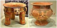 Tetrapod Jaguar Effigy Vessel with Rattle Supports (left), and Human Head Effigy Vase (right), Gardiner Museum, Toronto, ON (Snuffy) Tags: gardinermuseum toronto ontario canada tetrapodjaguareffigyvesselwithrattlesupports humanheadeffigyvase level1photographyforrecreation