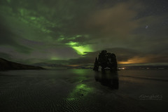 Beautiful Aurora at Hvitserkur, Iceland (Alongkot.S) Tags: arctic aurora beach beautiful borealis coast europe formation galaxy hvitserkur iceland island landmark landscape light lights nature night northern ocean polaris red rock sea sky stack star tent troll volcanic