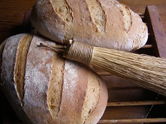 The Brush (Melinda Stuart) Tags: bread loaves baked handmade brush whiskbroom broom handcraft aga brown country scratch crafts food tradition wheat slashed grain wholewheat