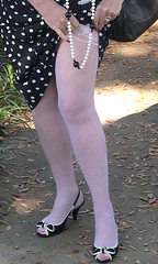 me..My vintage polka dot dress (Sugarbarre2) Tags: woman legs high heels black white flash sun pussy cat bows toes mini upskirt fashion mature granny mom wife babe baby fun hot cool cold nikon light red nails leaves brown nature sheer stockings