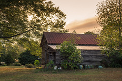 Old Barn - Near Monticello, Georgia (Lee Edwin Coursey) Tags: georgia nikon sunset old outdoor 2016 september tinroof trees summer ruralamerica southexplore outside coursey barn southern nikond5200 rustic rural