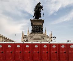 Behind the king's horse (attilio.pirino) Tags: monument statue red milan italy toilettes horse monumento statua rosso milano italia astratto