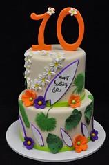 Hawaiian Birthday Cake (jennywenny) Tags: hawaiian luau birthday cake surfing surfboards palm leaves lei plumeria frangipane hibiscus