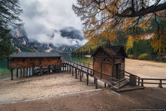 Italy. Dolomites. Boat station on the Braies Lake (naumenkophotographer.com.ua) Tags: italian alpine alps autumn beautiful blue braies di dolomite dolomites europe forest green hiking house italy lago lake landscape mountain nature outdoor panorama park peak pond rock scenery seekofel south sudtirol tourism tranquil travel trees trentino turquoise tyrol valley water pentax laowa