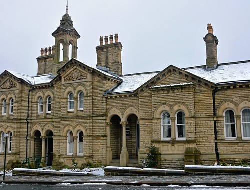 Fine buildings in Victoria Road, Saltaire