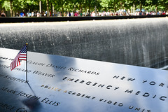 MircK - 9/11 Memorial (imNOTaPh) Tags: memorial 119 11settembre worldtradecenter worldtradecentermemorial newyork manhattan waterfall usa america flag usaflag twintowers mirck travel travelphotography