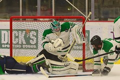 Shoulder Save... (R.A. Killmer) Tags: sru hockey fast skate skill save skater talented ice green white stick college acha