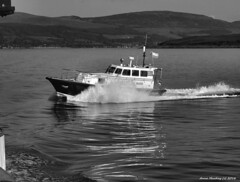 Scotland West Highlands Argyll pilot launch Mount Stuart coming around the paddle steamer Waverley 29 May 2016 by Anne MacKay (Anne MacKay images of interest & wonder) Tags: scotland west highlands argyll pilot launch mount stuart monochrome blackandwhite motorboat xs1 29 may 2016 picture by anne mackay
