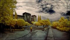 Plaça dels Aljibes (Ar@lee) Tags: granada alhambra plaça de los aljibes conde tendilla puerta del vino 1494 fotografíainfrarrojos photography infrared ir fullspectrum filter 720nm nikond50 d50 panorámica paisaje