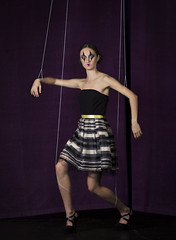 Nobody knows who holds the strings of life. (8/52) (sylvievienne) Tags: photography photoshoot model puppet marionette fine art fineart woman