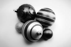 Christmas Ornaments (FitzJohnson) Tags: christmasornament ornament christmas decoration holidays balls ball blackandwhite bw blackwhite monochrome monochromatic canon canonrebel t3i 600d merrychristmas xmas winter stilllife