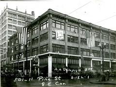 O'Shea Building, Seattle, 1937 (Rob Ketcherside) Tags: streetclock seattle 1937 greatdepression