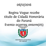Regina Vogue recebe título de Cidadã Honorária do Paraná