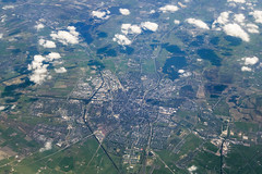 20130613_F0001: Groningen in the Netherlands from airplane (wfxue) Tags: city house window water netherlands field clouds plane river landscape town aerial sit roads groningen agriculture