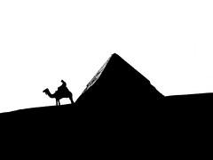 (Tommi.P) Tags: blackandwhite bw man silhouette pyramid egypt cairo camel