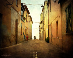 The Street (MargoLuc) Tags: street pink flowers blue houses windows light sunset red summer sky people italy sunlight man texture boys golden town doors time walk perspective peaceful silvi abruzzo