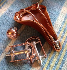 Copper bits for my current bike project. (Spacecat, San Francisco) Tags: bell crane b17 copper brooks mks bm7 originalfilter uploaded:by=flickrmobile flickriosapp:filter=original