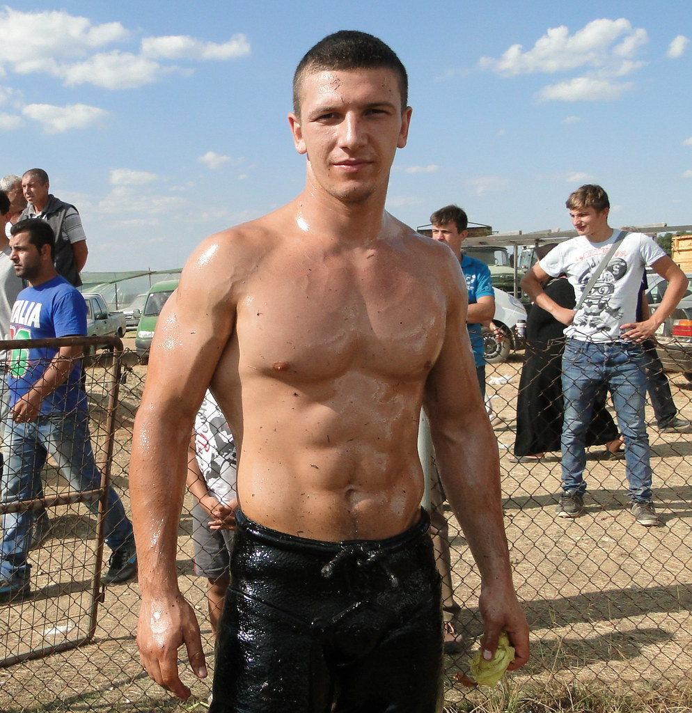 Naked muscle men wrestling