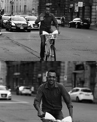 [La Mia Citt][Pedala] Sorridendo e salutando (Urca) Tags: portrait blackandwhite bw italia milano bn ciclista biancoenero bicicletta pedalare 2013 5955 dittico bikemi ritrattostradale nikondigitalefilippetta sorridendoesalutando