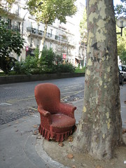 Having a Bad Chair Day / pink & pretty (Ladybadtiming) Tags: street pink wild tree trash ruffles garbage chair empty lonely armchair abandonned funriture hbcd