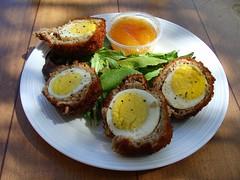 Scotch Eggs (knightbefore_99) Tags: city summer food canada bar lunch pub winnipeg deep manitoba mango eggs scotch fried chutney kingshead