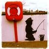 street art onto the Thames river wall.  London UK . (SykoFantiS Bastoyni) Tags: square squareformat lordkelvin iphoneography instagramapp uploaded:by=instagram