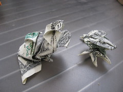 $ Frog Beetle (I have two mouths to feed!) (morpheology) Tags: baby money us bill origami beetle frog toad dollar fold moneygami