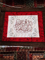 Santa DOW from Julia's needle designs as bordered Christmas mats. (ceodraiocht) Tags: embroidery machine mug quilted rug machineembroidery redwork mugrug ceodraiocht