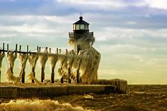 St. Joseph bling (Notkalvin) Tags: lighthouse lake cold ice beach frozen waves stjoseph lakemichigan explore bling icy flickrexplore explored mikekline michaelkline notkalvin polarvortex notkalvinphotography
