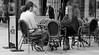 Poncho (Just Ard) Tags: street uk urban bw woman white man black wales photography cafe nikon chairs candid cymru cardiff streetphotography caerdydd caffenero d7000 justard