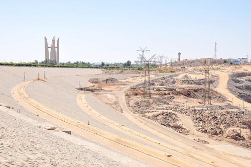 The monument of Arab-Soviet Friendship (Lotus Flower) and Aswan High Dam