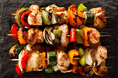 Homemade Chicken Shish Kabobs (brent.hofacker) Tags: summer food orange hot green chicken cooking vegetables yellow pepper fire smoke bbq vegetable charcoal barbecue peppers barbeque onion zucchini grilling grilled kebab kabob redpepper yellowpepper greenpepper skewer protein shish bellpepper kabab sweetpepper shishkabob shishkebab orangepepper shishkabab chickenkabob