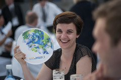 A guest with ITF frisbee at the dinner