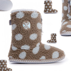 Leona - Polka Dot Short Sherpa Boots - Gingerbread / Volute (Bedroom Athletics) Tags: womens leona short polka dot sherpa boots gingerbread volute by bedroom athletics fleece upper classic teddy lining grosgrain branded zip pull closure embroidered logo nonslip textile covered tpr sole decorative zigzag contrast stitch detail sidewall