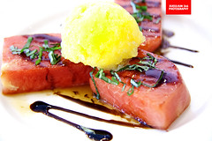 Pan Seared Watermelon Steak (APERTURE X & THE CULINARY ADVENTURER) Tags: food singapore bistro watermelon pineapple basil balsamicvinegar dessert