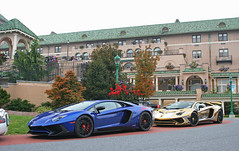 SVSV (sumosloths) Tags: lamborghini aventador sv super veloce blue red letters lettering chrome gold wrap wrapped team salamone teamsalamone cannonball run 2016 hotel hershey pennsylvania pa pagani huayra king sparky rally lambo two goldrush flowers fall autumn trees lp7504 lp750 sumosloths