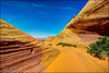 Page (hakoar) Tags: view path pattern gravel landscape rugged scrub nature abstract formation sand hill orange red grooves structure vista colorful sandstone bend vivid desert utah barren sky blue dry bryce wilderness rocks arizona unitedstatesofamerica us