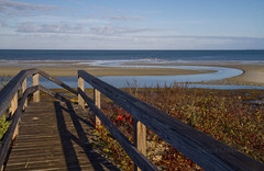 A Walk to the Sea (brucetopher) Tags: beach water sea ocean trail hike boardwalk view curve winding saltwater stream flow birds gulls terns waterfowl blue sky clouds autumn fall changeofseason bridge stair stairway sand tide tidepool lowtide horizon bay newengland railing rail