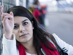 Nathalie, Amsterdam 2016: Intense (mdiepraam (35 mln views)) Tags: nathalie amsterdam 2016 centraal station platform portrait busterminal pretty beautiful elegant dutch brunette girl naturalglamour scarf