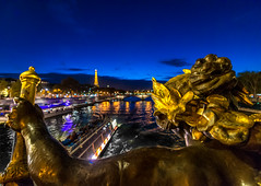 Nymph of the Neva (Enrique EKOGA) Tags: paris france eiffeltower gold blue bluehour bluesky pontalexandreiii city dof uwa ultrawideangle lights nymphe water seine sunset nymphsoftheneva bridge boat colours travel nikon tokina d800e statue architecture quai toureiffel eiffel twilight pov bokeh