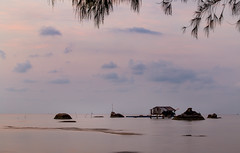 A gentle morning (trai_thang1211) Tags: tree beach house sea cloud sunrise sunset dawn water gentle morning village fishing rock stone