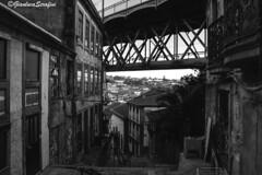 Oporto, under the bridge Luis I (Serapic) Tags: oporto porto black white blackandwhite dark city cityscape under bridge architettura architecture ponte citt portugal portogallo ciudade ciudad old
