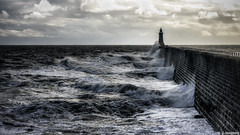 Cruel Sea (whistlingtent) Tags: seaside pier tynemouth river tyne north shields coastline heavy seas stormy clouds rough white water bricks wall