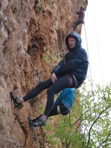 steep climbing on a rainy day - Truffle Shuffle Cherry Canyon Flagstaff AZ